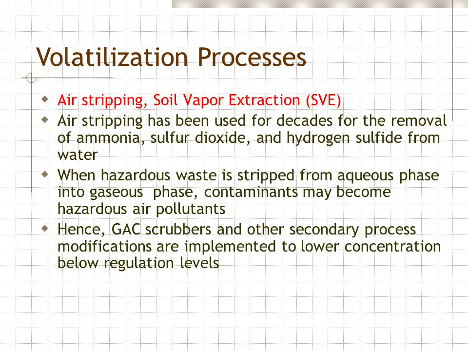 Volatilization Processes