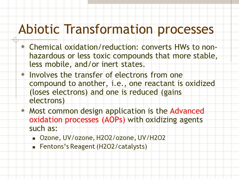 Abiotic Transformation processes