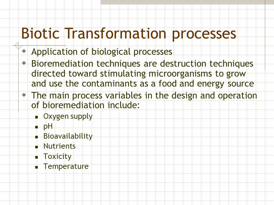 Biotic Transformation processes