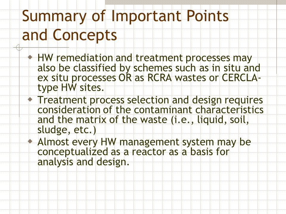 Summary of Important Points and Concepts