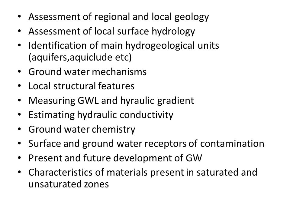 Assessment of regional and local geology