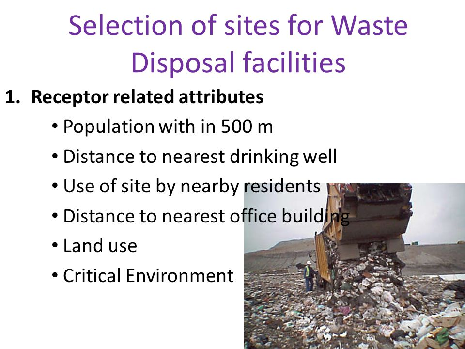Selection of sites for Waste Disposal facilities