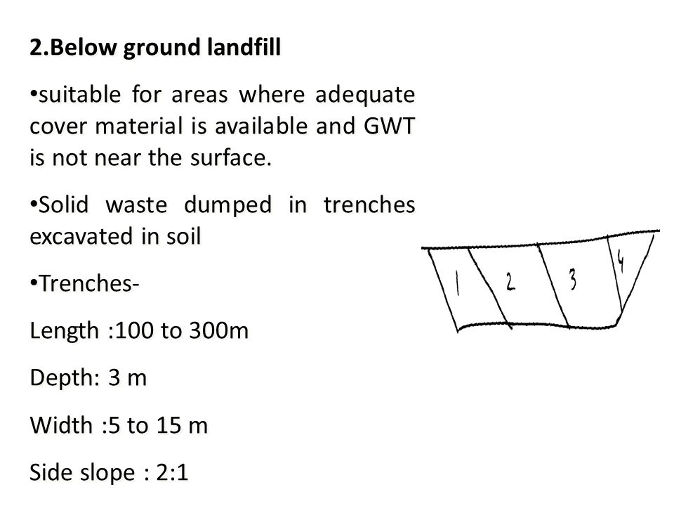 2.Below ground landfill suitable for areas where adequate cover material is available and GWT is not near the surface.