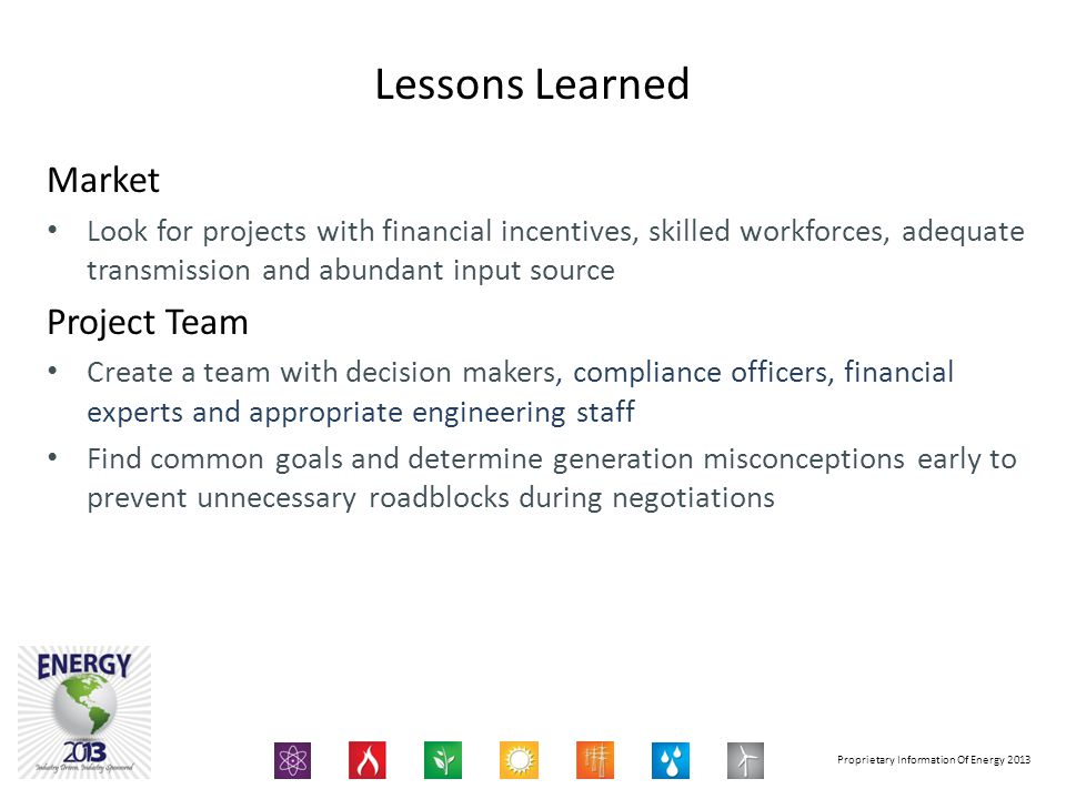 Lessons Learned Market Project Team