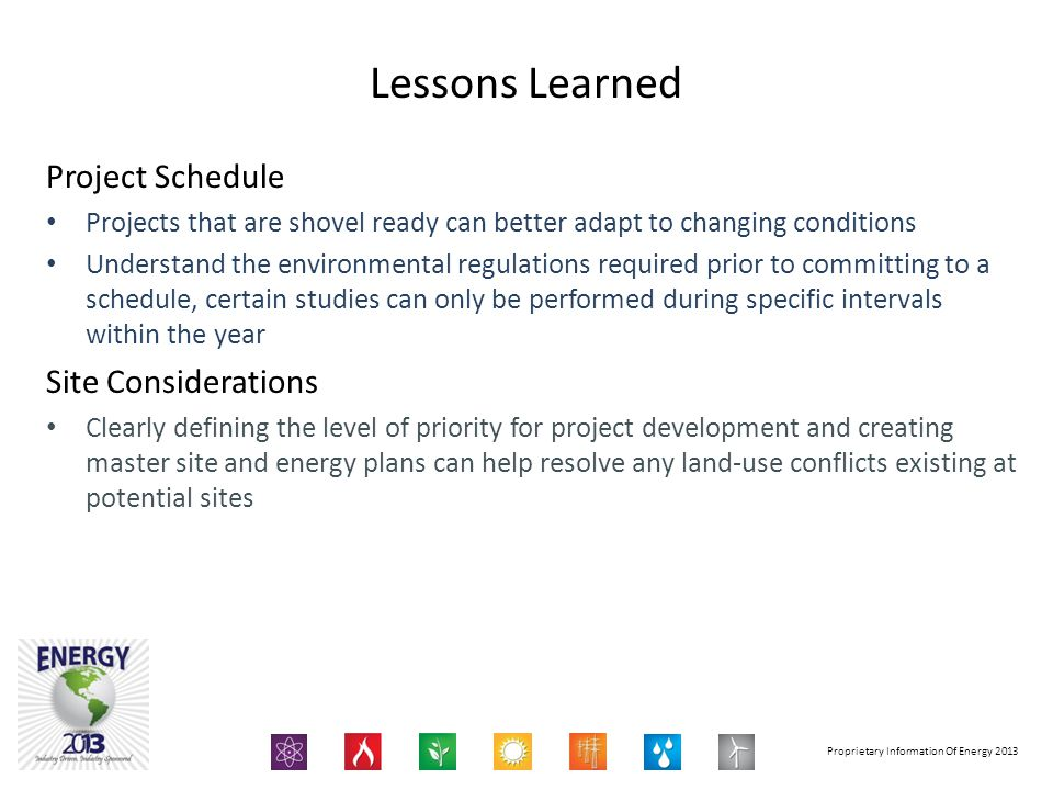 Lessons Learned Project Schedule Site Considerations
