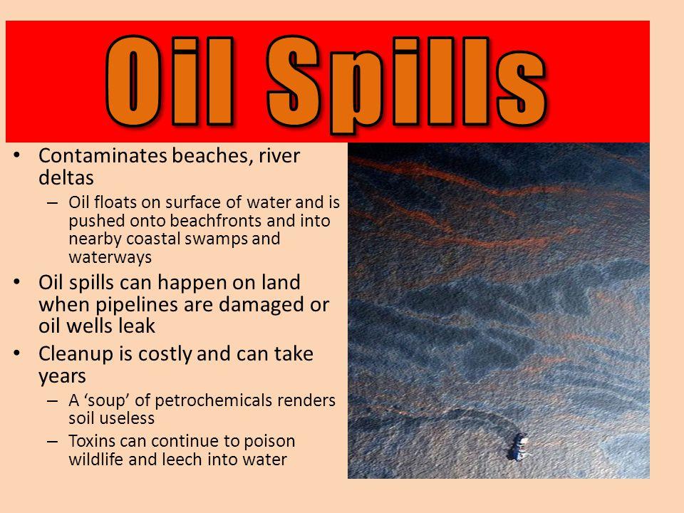 Oil Spills Contaminates beaches, river deltas