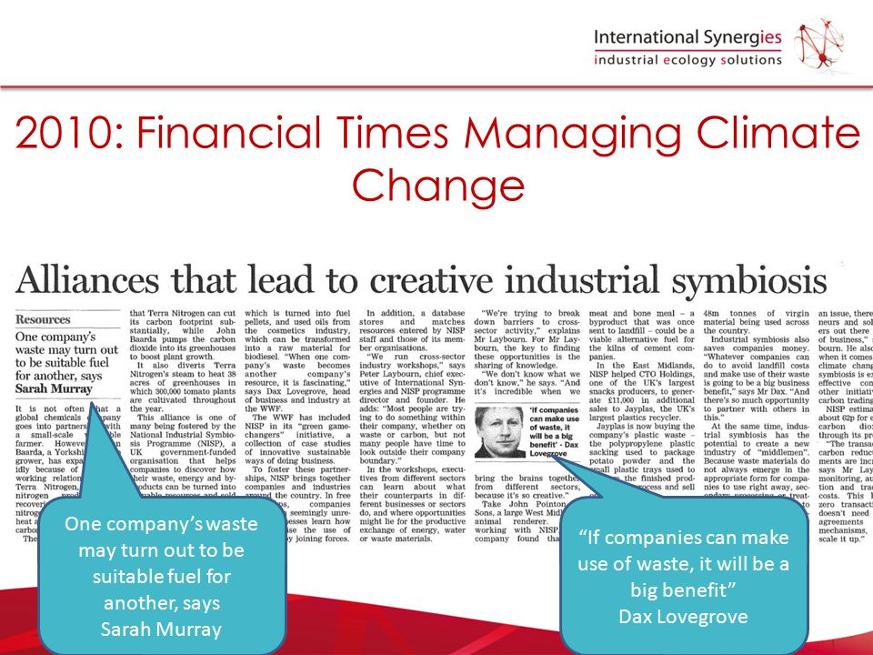 2010: Financial Times Managing Climate Change