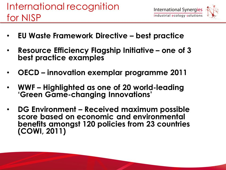 International recognition for NISP