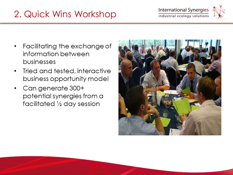 2. Quick Wins Workshop Facilitating the exchange of information between businesses. Tried and tested, interactive business opportunity model.