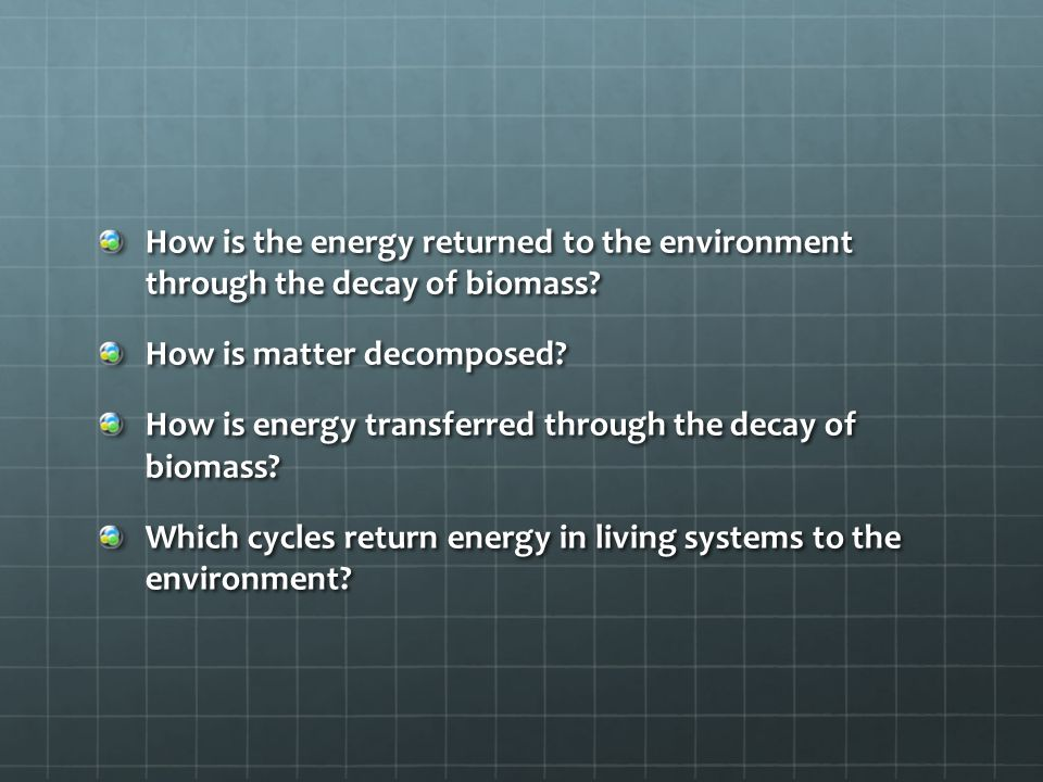 How is the energy returned to the environment through the decay of biomass
