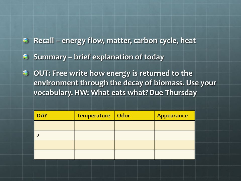 Recall – energy flow, matter, carbon cycle, heat