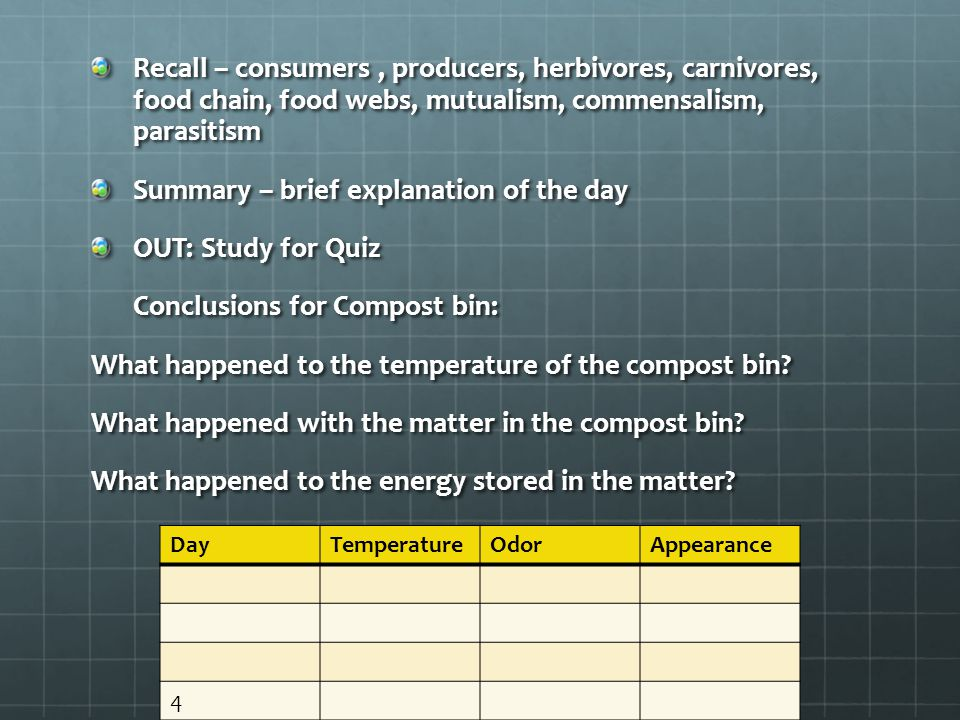 Summary – brief explanation of the day OUT: Study for Quiz