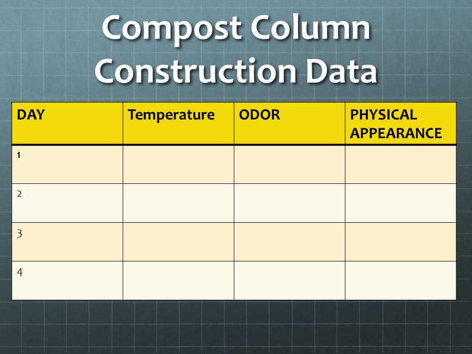 Compost Column Construction Data