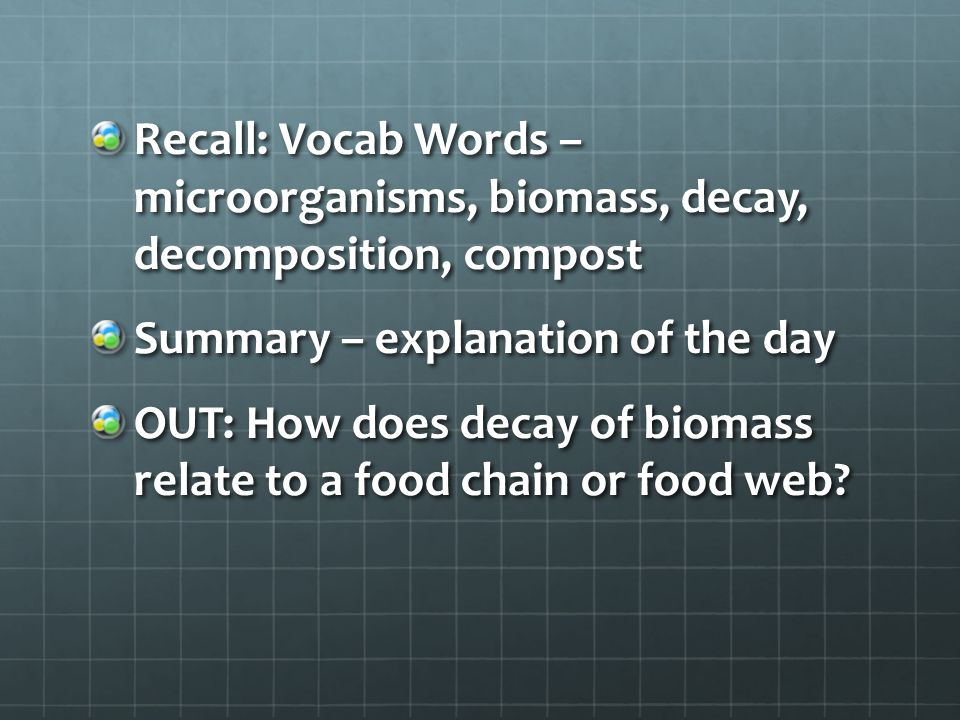 Recall: Vocab Words – microorganisms, biomass, decay, decomposition, compost