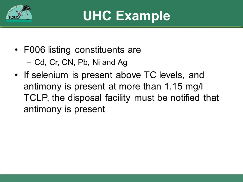 UHC Example F006 listing constituents are