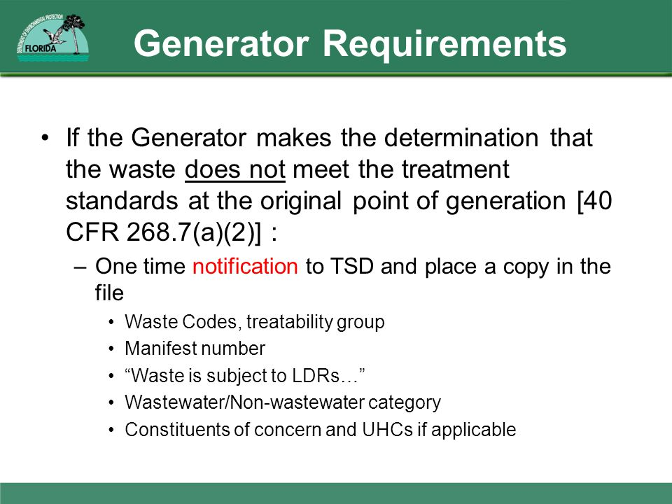 Generator Requirements
