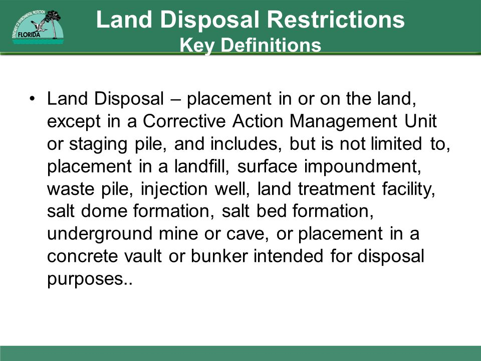 Land Disposal Restrictions Key Definitions