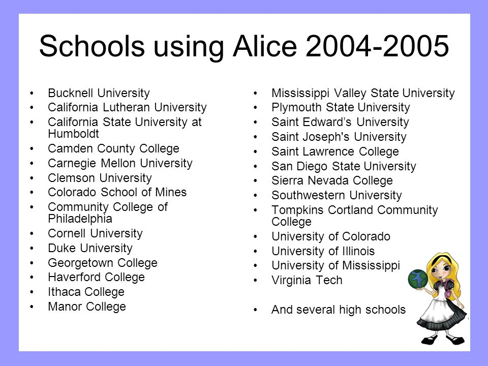 Schools using Alice 2004-2005 Bucknell University