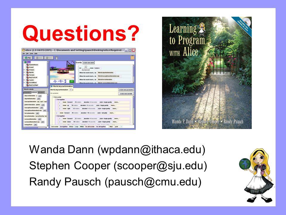Questions Wanda Dann (wpdann@ithaca.edu)