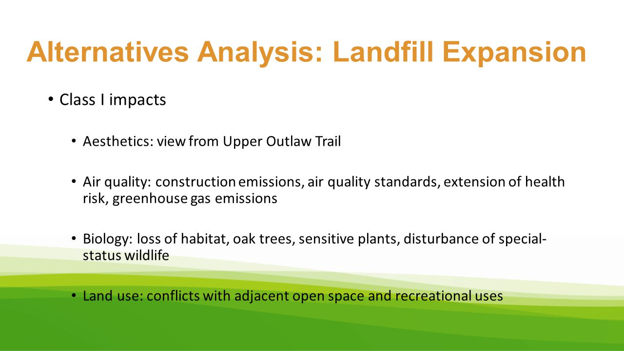 Alternatives Analysis: Landfill Expansion