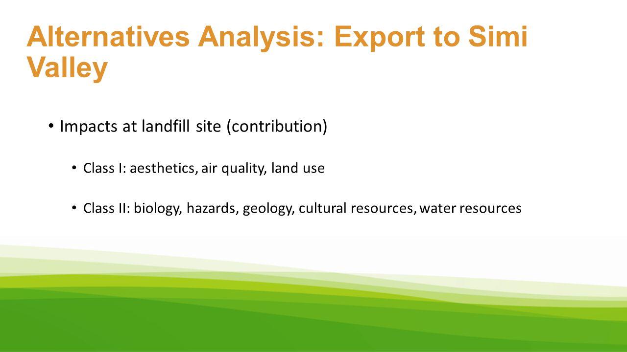 Alternatives Analysis: Export to Simi Valley