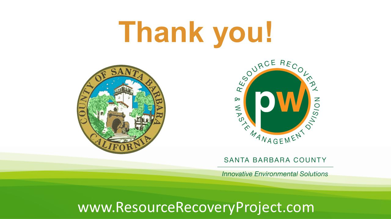 Thank you! www.ResourceRecoveryProject.com