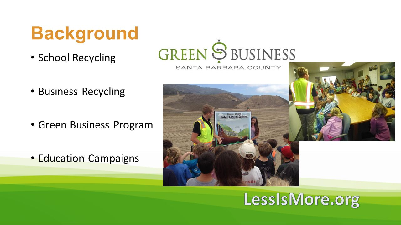 Background LessIsMore.org School Recycling Business Recycling