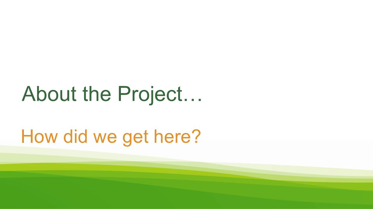 About the Project… How did we get here