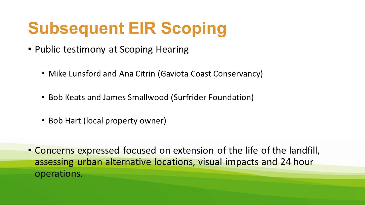 Subsequent EIR Scoping