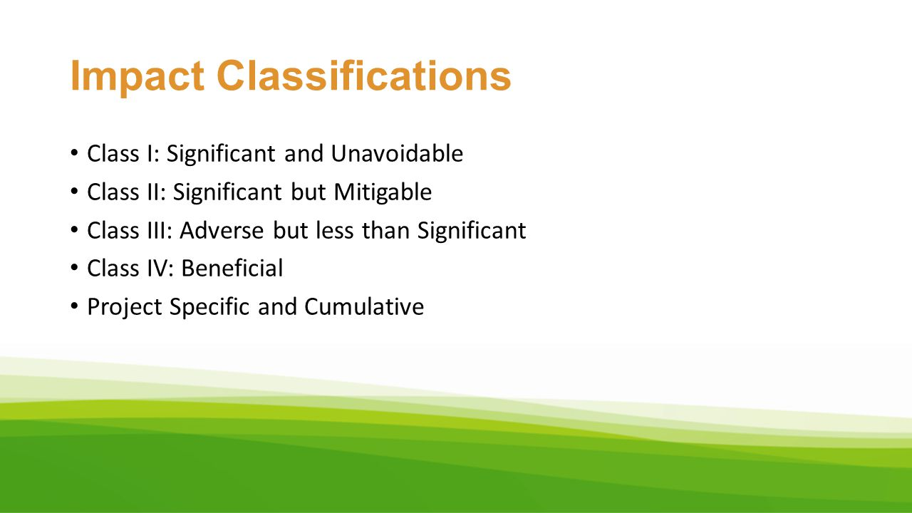Impact Classifications