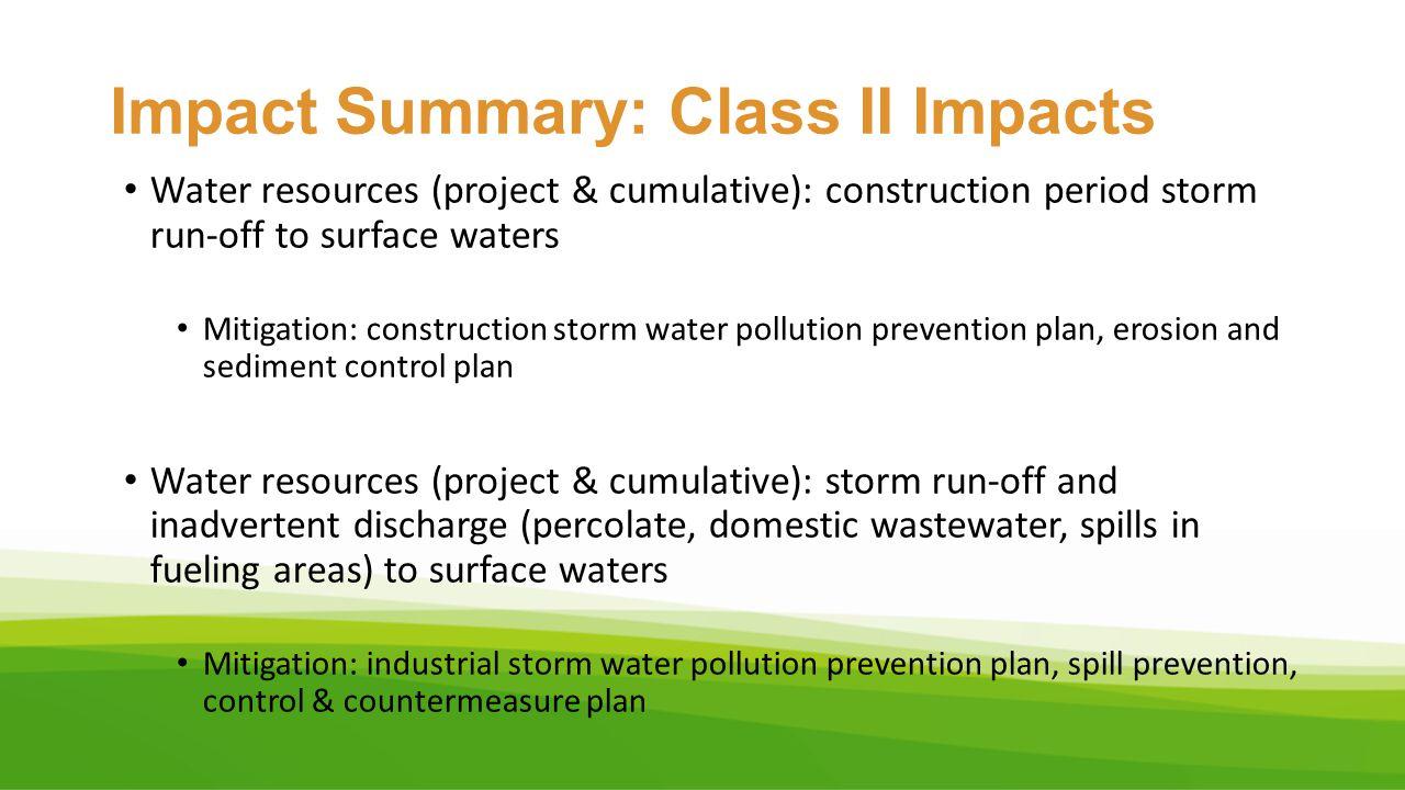 Impact Summary: Class II Impacts