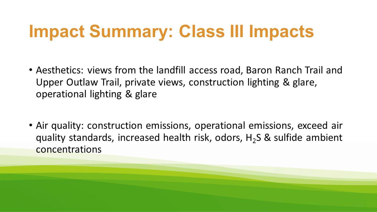 Impact Summary: Class III Impacts