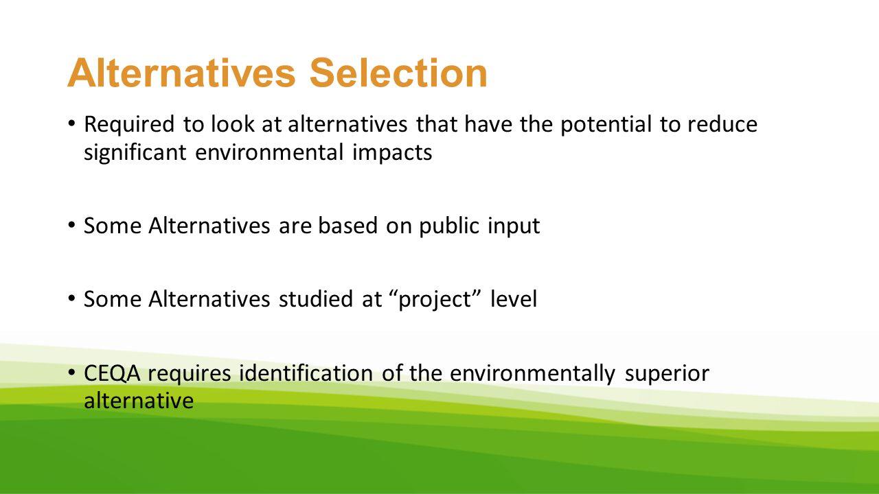Alternatives Selection