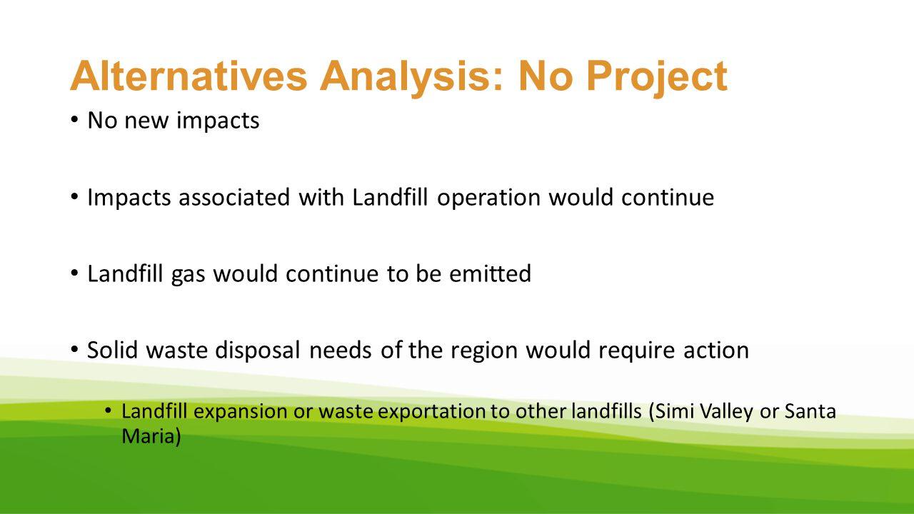 Alternatives Analysis: No Project