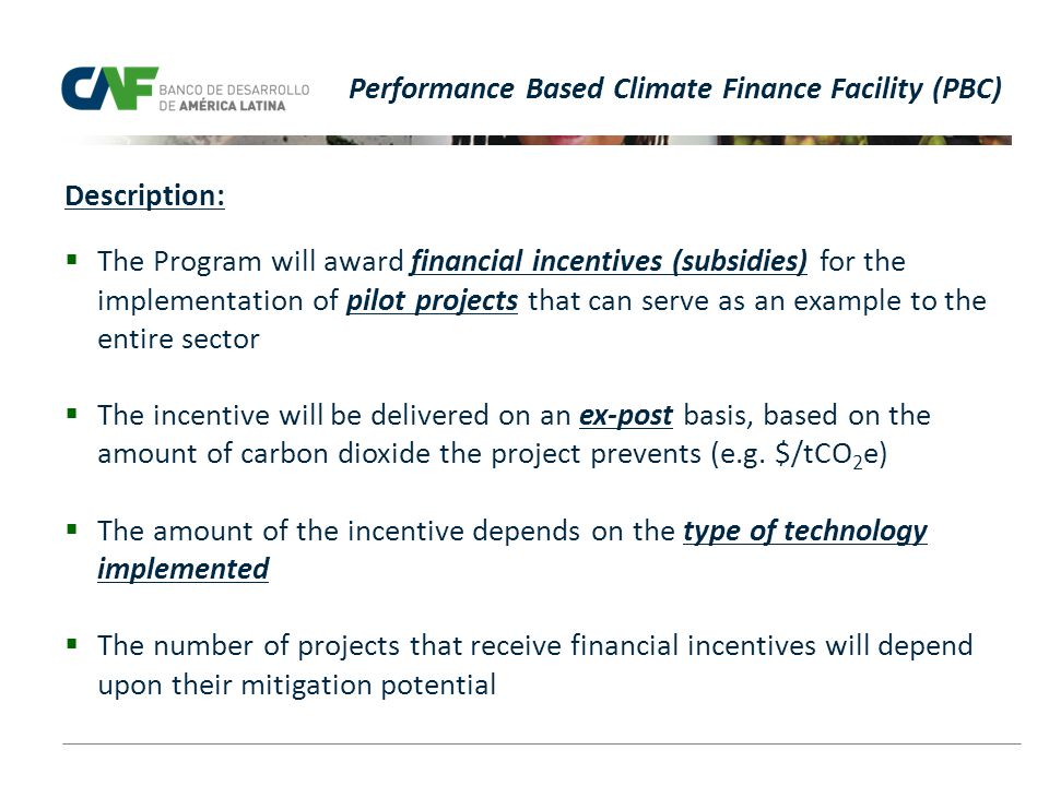 Performance Based Climate Finance Facility (PBC)