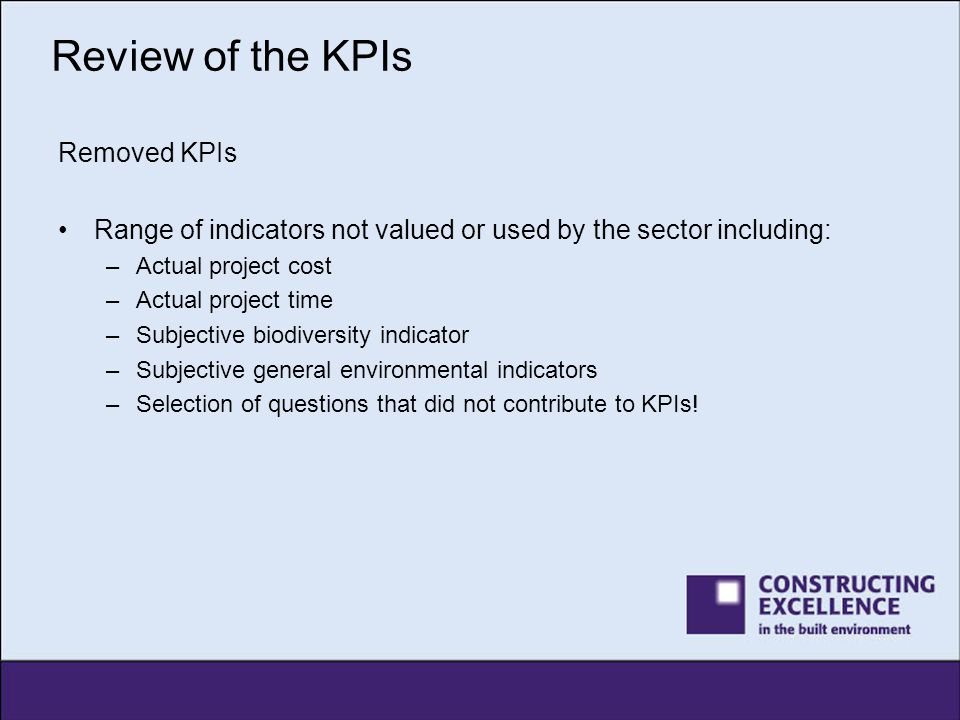 Review of the KPIs Removed KPIs