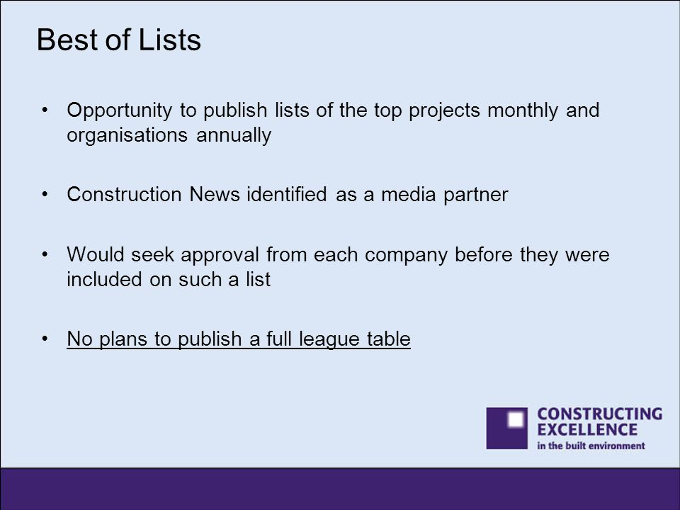 Best of Lists Opportunity to publish lists of the top projects monthly and organisations annually. Construction News identified as a media partner.
