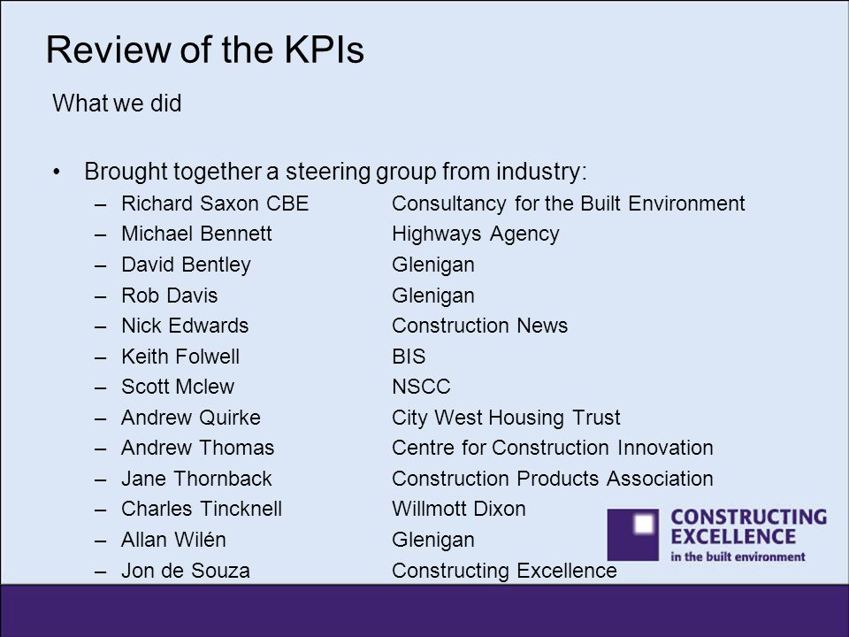 Review of the KPIs What we did