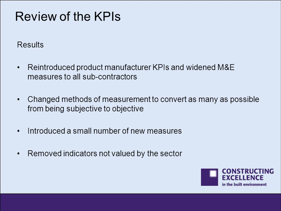 Review of the KPIs Results