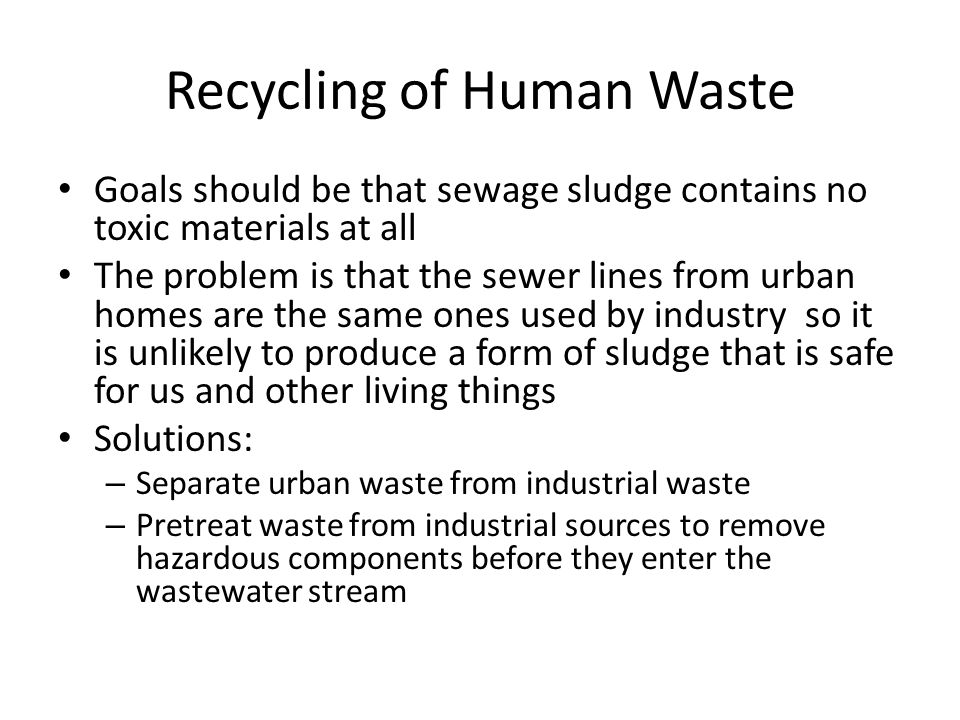 Recycling of Human Waste