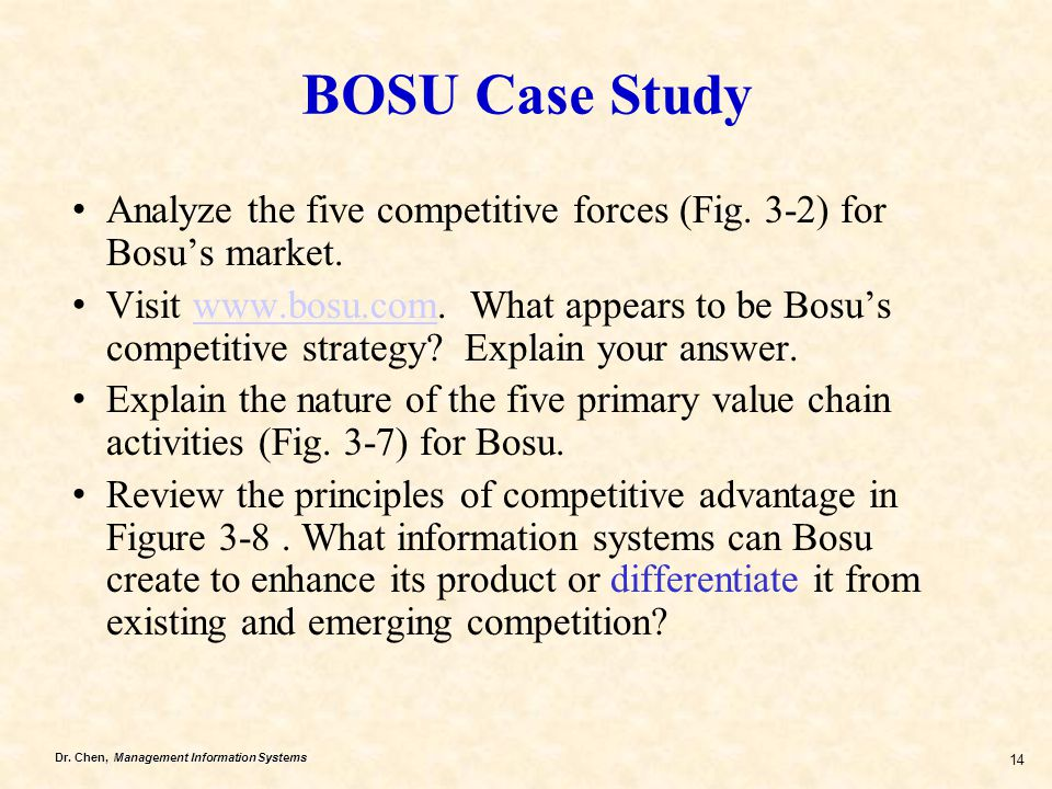 BOSU Case Study Analyze the five competitive forces (Fig. 3-2) for Bosu's market.