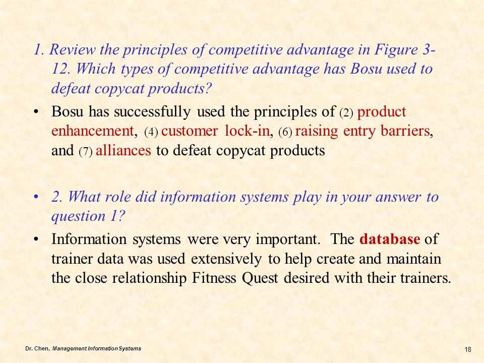 1. Review the principles of competitive advantage in Figure 3-12