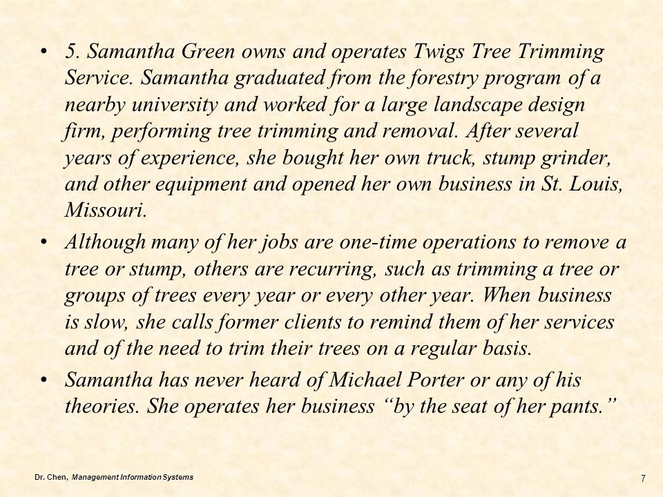 5. Samantha Green owns and operates Twigs Tree Trimming Service