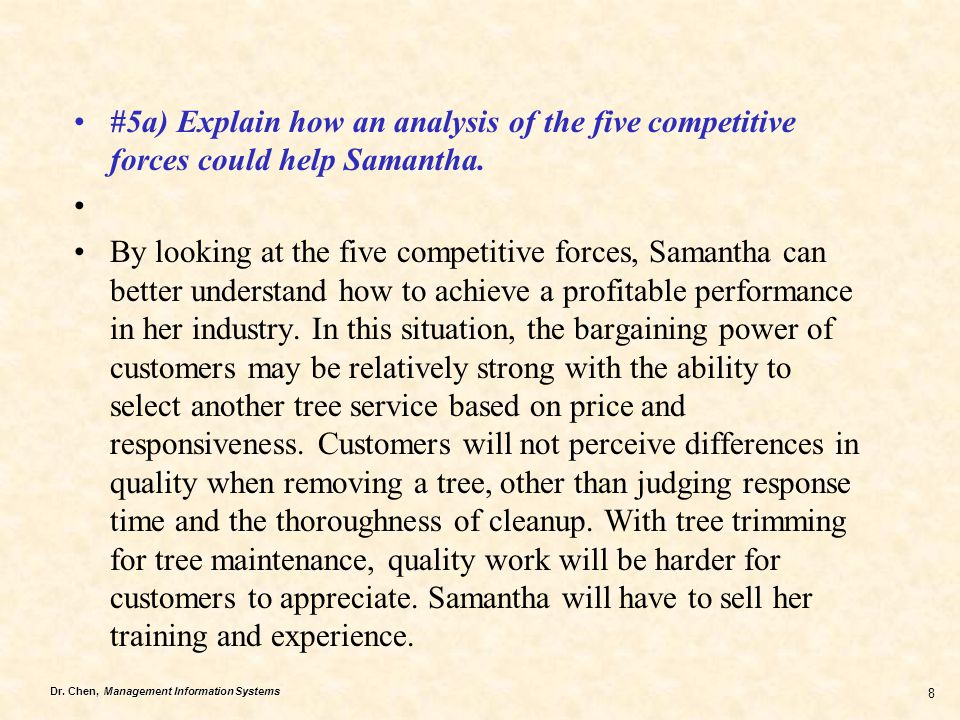 #5a) Explain how an analysis of the five competitive forces could help Samantha.