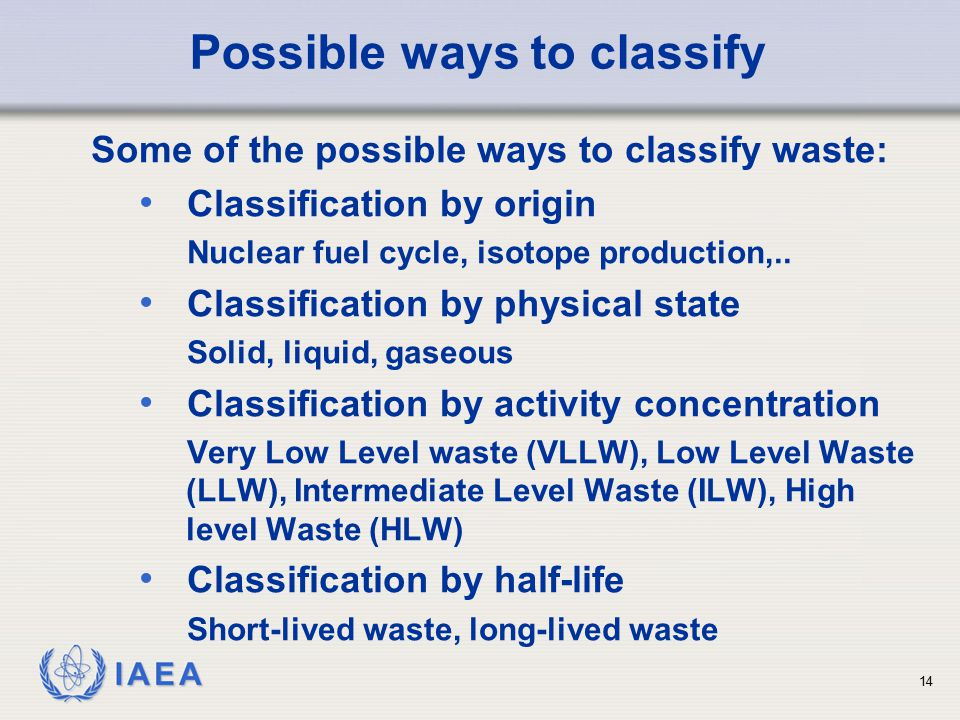 Possible ways to classify