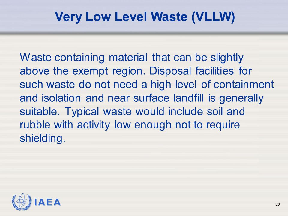 Very Low Level Waste (VLLW)