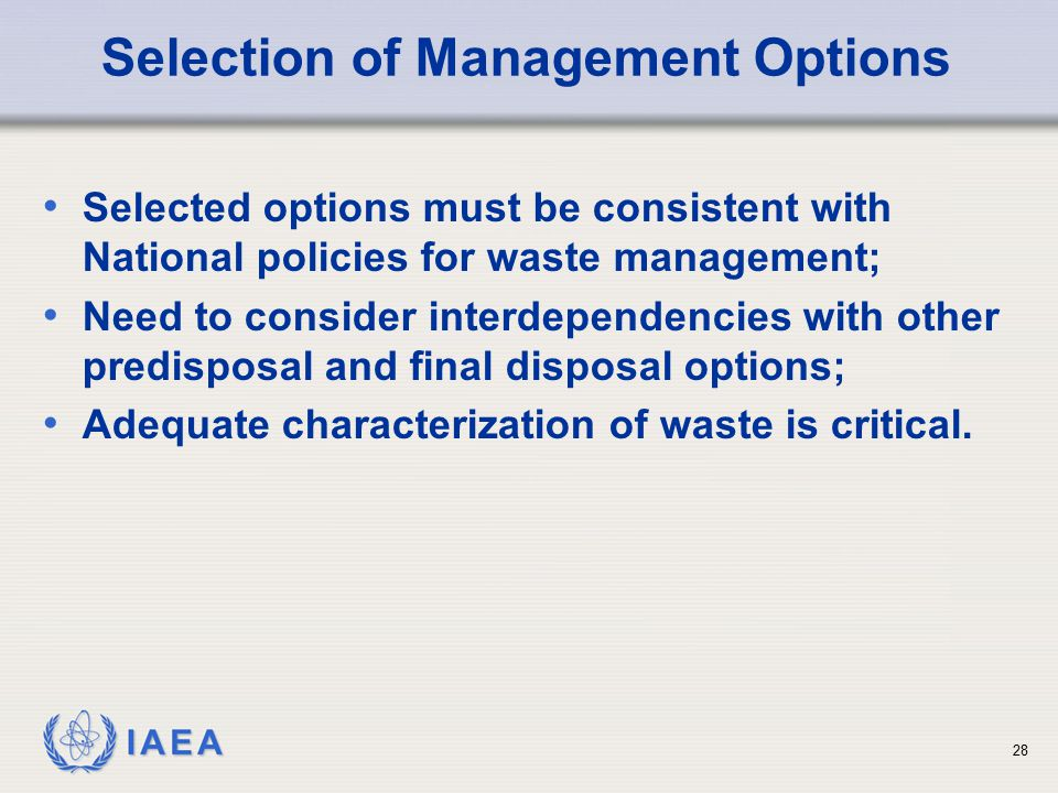 Selection of Management Options