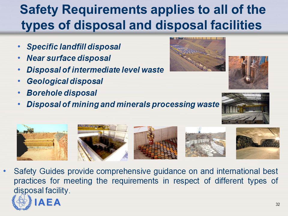 Safety Requirements applies to all of the types of disposal and disposal facilities