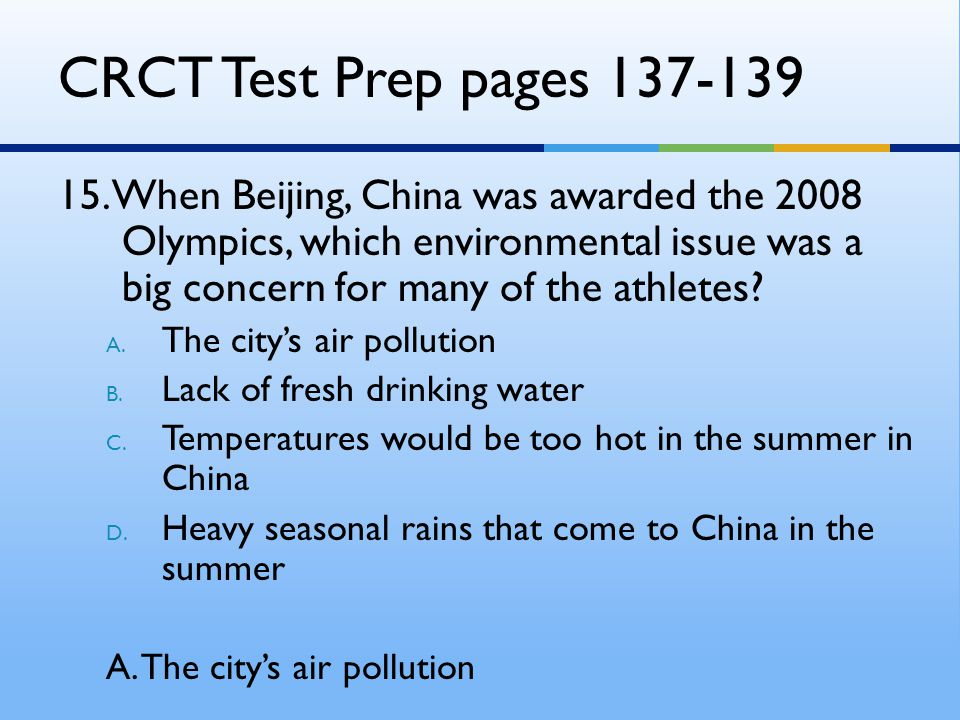 CRCT Test Prep pages 137-139
