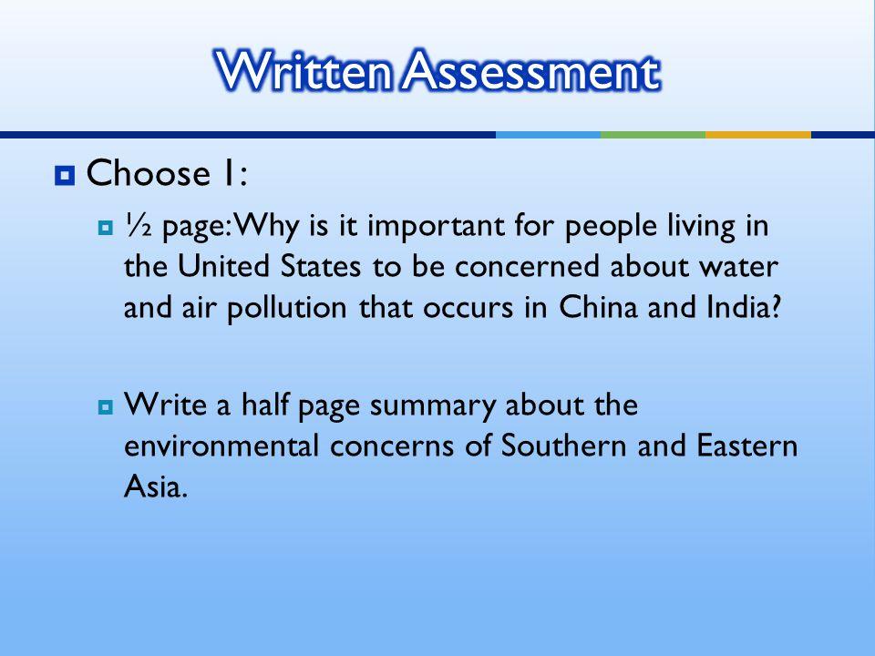 Written Assessment Choose 1: